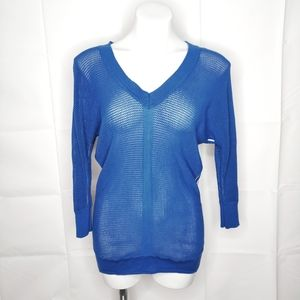 Magaschoni Royal Blue Striped Loose Knit Sweater M